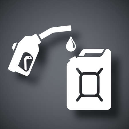 petrolium: Gun for fuel pump and canister of fuel, vector icon Illustration