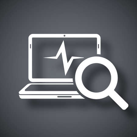 troubleshooting: Laptop diagnostics icon, vector Illustration