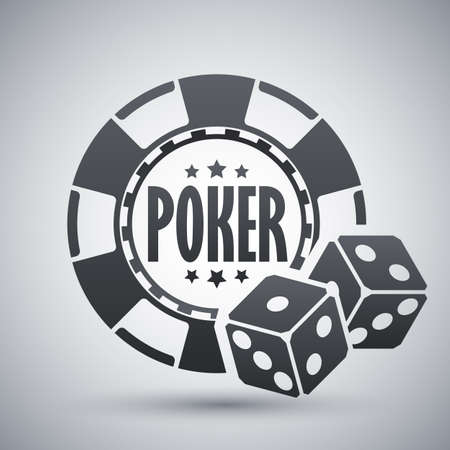 poker chips: Poker chips with two dices, vector icon