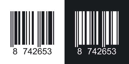 internet mark: Barcode icon, vector illustration. Two-tone version on black and white background
