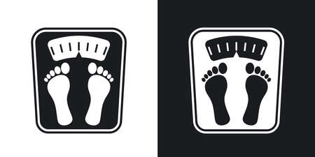 white bathroom: Bathroom scales icon, vector. Two-tone version on black and white background