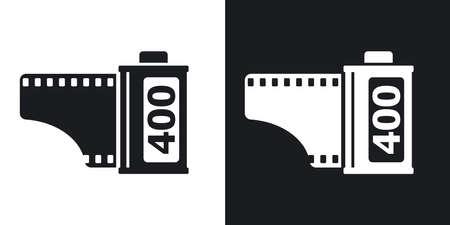 camera symbol: Camera film roll icon, vector. Two-tone version on black and white background
