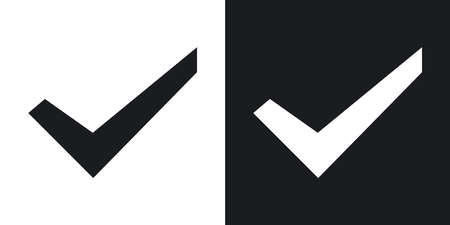 check mark icon: Check mark icon, stock vector. Two-tone version on black and white background