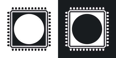 chipset: Chip icon, vector. Two-tone version on black and white background