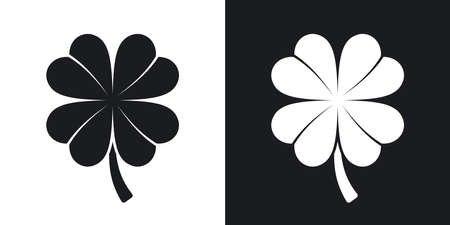 fourleaf: Four-leaf clover icon, vector. Two-tone version on black and white background