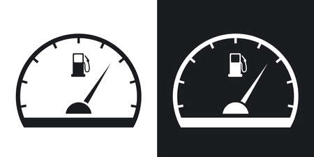 fuel gauge: Fuel gauge icon, vector. Two-tone version on black and white background Illustration