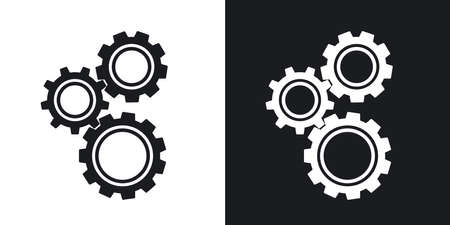 Gears o impostazioni icona, vettoriali. versione bicolore su sfondo bianco e nero Vettoriali
