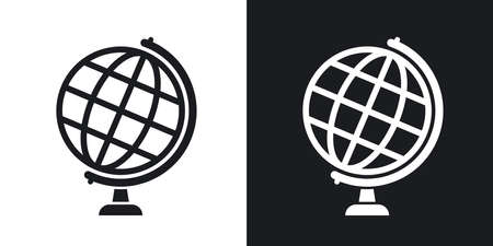 Globe icon, stock vector. Two-tone version on black and white background