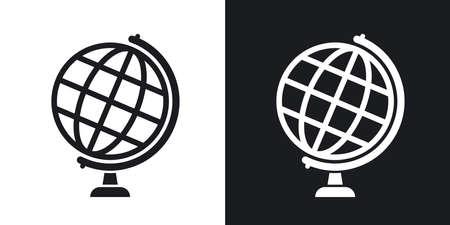 globo terraqueo: icono del globo, las acciones de vector. versión de dos tonos con el fondo blanco y negro