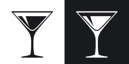 Martini glass icon, vector. Two-tone version on black and white background