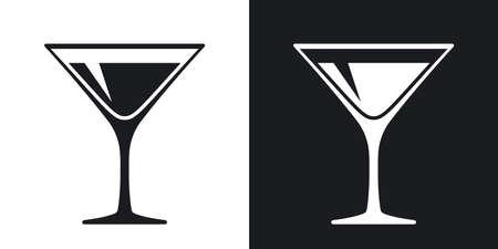 Martini glass icon, vector. Two-tone version on black and white background Stock Illustratie