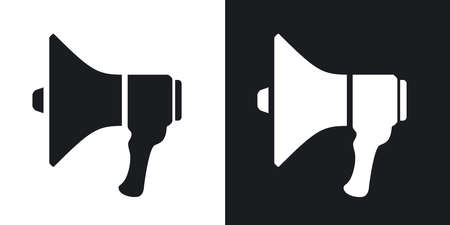 dictate: Megaphone icon, vector illustration. Two-tone version on black and white background