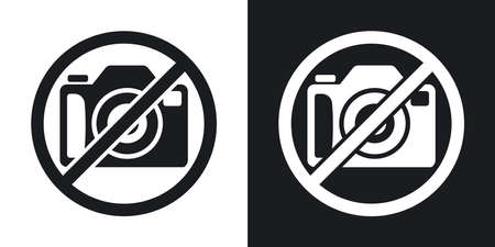 banned: No photography sign, vector. Two-tone version on black and white background