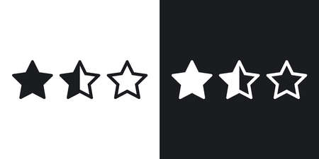 Rating stars icon, vector. Two-tone version on black and white background