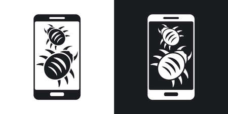 Smartphone is infected by malware, vector illustration. Two-tone version on black and white background
