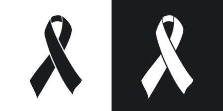 ベクトル エイズ意識リボン記号やアイコン。黒と白の背景にツートン カラー バージョン