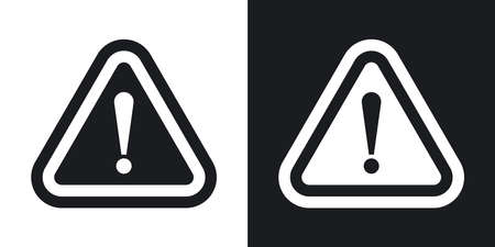 attention: Vector attention sign with exclamation mark icon. Two-tone version on black and white background