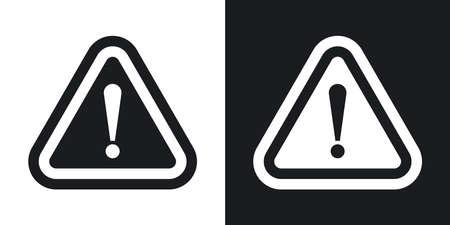 Vector attention signe avec point d'exclamation. Version bicolore sur fond noir et blanc