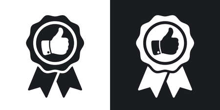 Vector badge with thumbs up icon. Two-tone version on black and white background Vettoriali