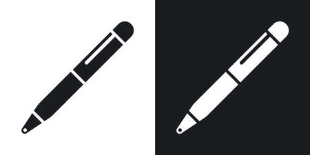 Vector ballpoint pen icon. Two-tone version on black and white background