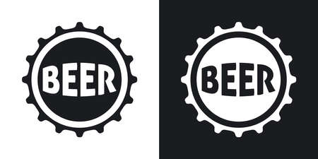 beer glass: Vector beer bottle cap icon. Two-tone version on black and white background