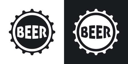gorro: Vector icono de la cerveza de la cápsula. versión de dos tonos con el fondo blanco y negro