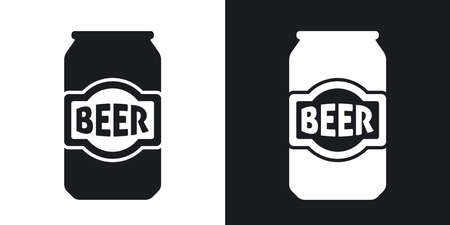 Vector beer can icon. Two-tone version on black and white background