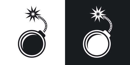 explosion risk: Vector bomb icon. Two-tone version on black and white background Illustration
