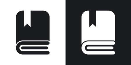 bookmarking: Vector book icon. Two-tone version on black and white background