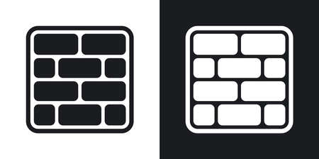 Vector brick wall icon. Two-tone version on black and white background