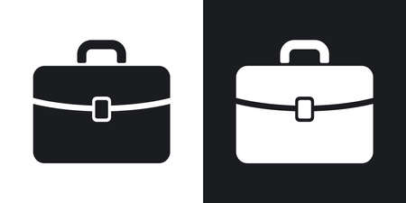 briefcase: Vector briefcase icon. Two-tone version on black and white background