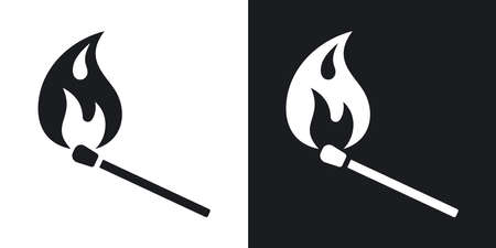 match: Vector burning match icon. Two-tone version on black and white background