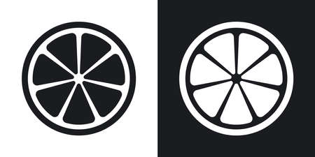 grapefruit juice: Vector citrus icon. Two-tone version on black and white background