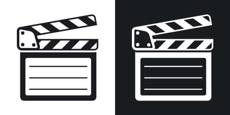 clap board: Vector clap board icon. Two-tone version on black and white background