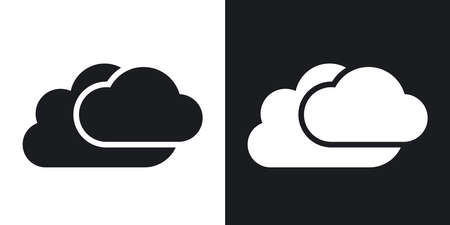 white clouds: Vector clouds icon. Two-tone version on black and white background Illustration