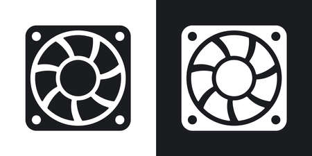 black fan: Vector computer cooling fan icon. Two-tone version on black and white background Illustration