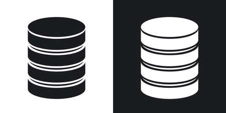 icono de base de datos vectoriales. versión de dos tonos sobre fondo blanco y negro Ilustración de vector