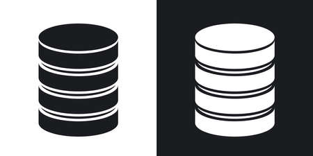 Vector database icon. Two-tone version on black and white background
