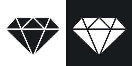 diamond: Vector diamond icon. Two-tone version on black and white background