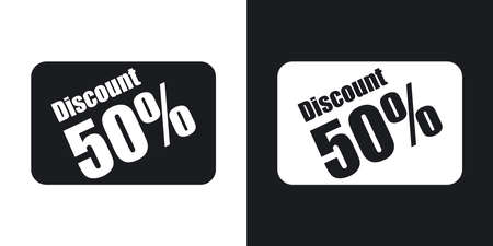 discounts: Vector discount card icon. Two-tone version on black and white background Illustration