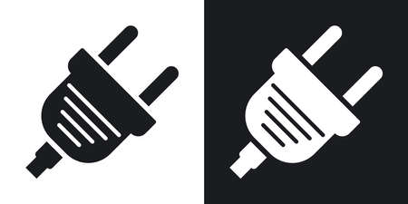 electric plug: Vector electric plug icon. Two-tone version on black and white background