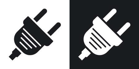 enchufe: Vector icono de enchufe eléctrico. versión de dos tonos con el fondo blanco y negro