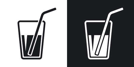 drinking straw: Vector glass with drinking straw icon. Two-tone version on black and white background Illustration