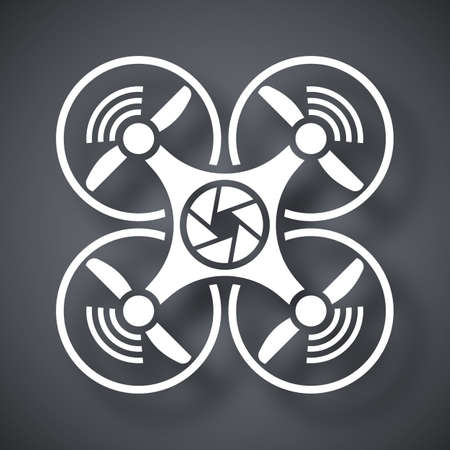 unmanned: Drone with camera icon, vector Illustration