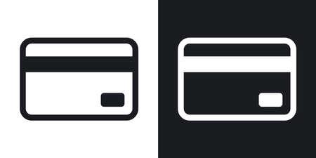 신용 카드 아이콘, 벡터. 검은 색과 흰색 바탕에 2 색 버전