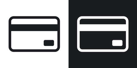 Credit card icon, vector. Two-tone version on black and white background