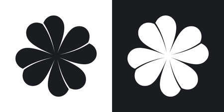 clover icon: Vector four-leaf clover icon. Two-tone version on black and white background Illustration