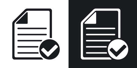 glyph: Vector document icon with Ok glyph. Two-tone version on black and white background