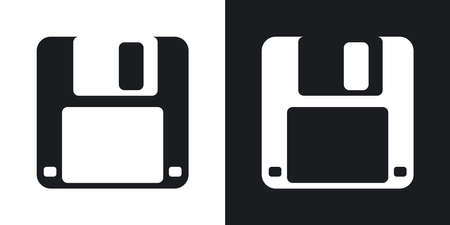 old pc: Vector floppy disk icon. Two-tone version on black and white background