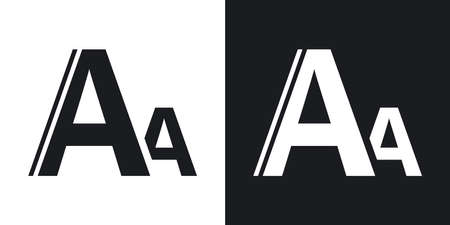 change size: Vector font size icon. Two-tone version on black and white background